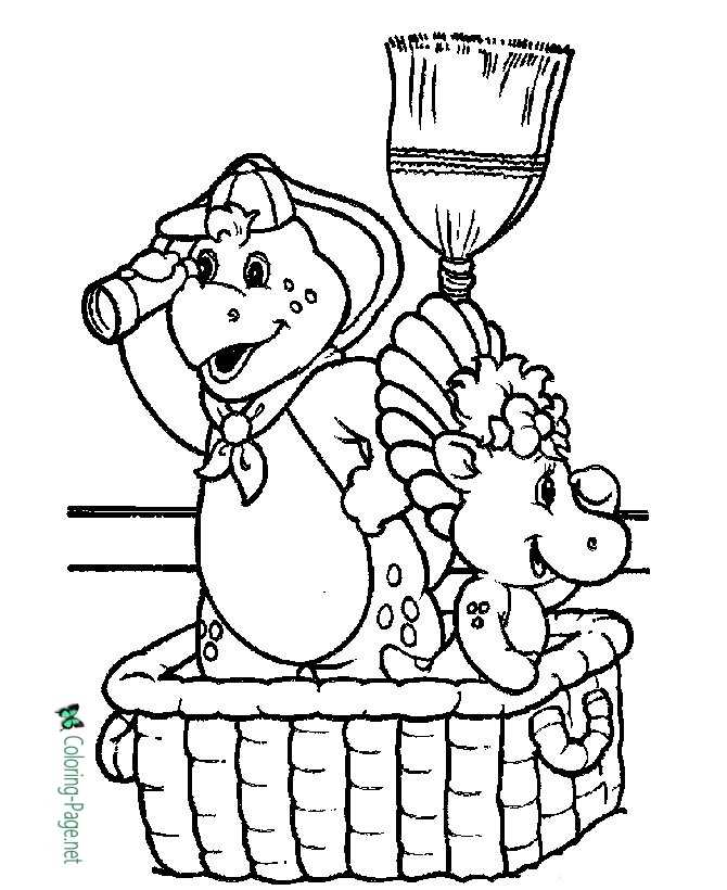 printable barney coloring pages
