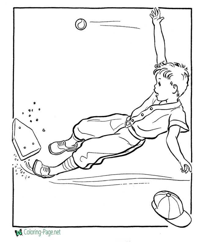 Sliding Home Baseball Coloring Pages