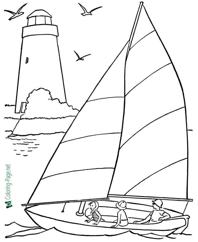 Beach Coloring Pages - Sailboat