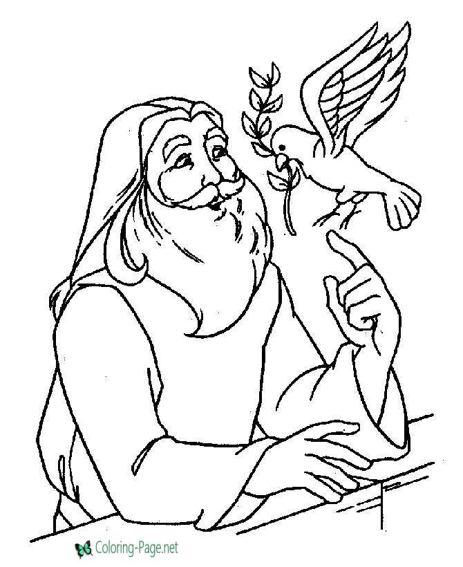 Noah and Doves - Bible Coloring Pages