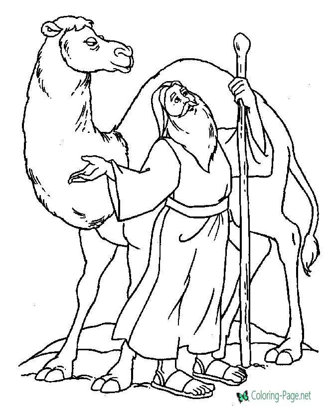 Moses in Desert - Bible Coloring Pages