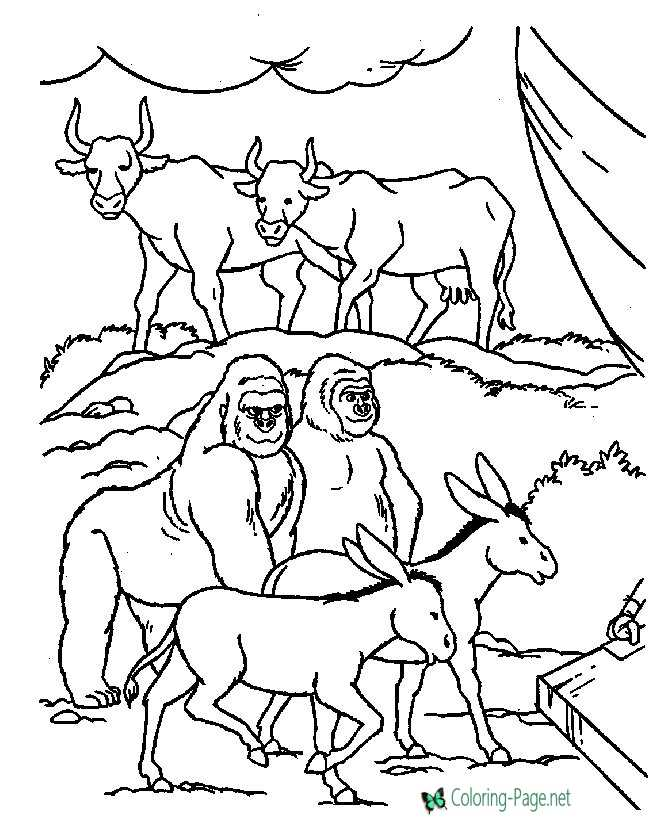 Animals 2 by 2 Bible Coloring Pages