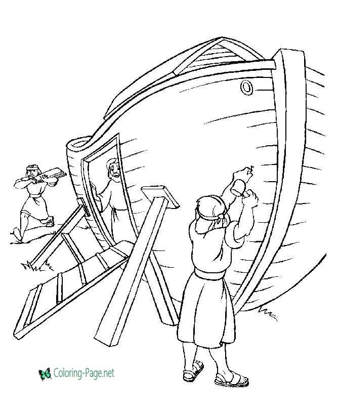 Noah Builds Ark Bible Coloring Page