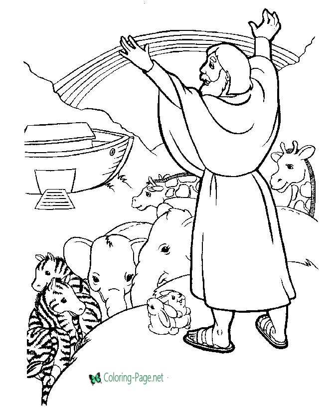 Rainbow after Flood Bible Coloring Page