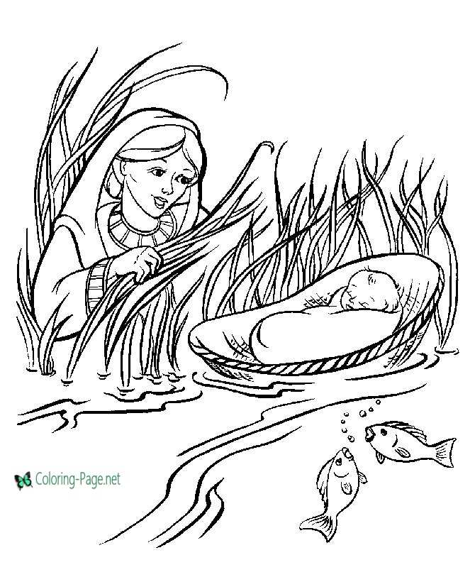 Baby Moses Bible Coloring Page