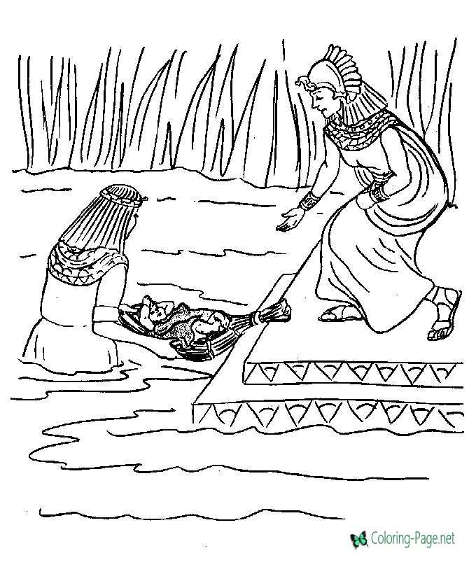 Baby Moses Bible Coloring Pages to Print