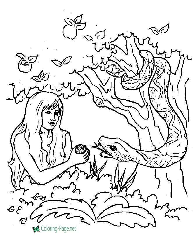 Bible Story characters Coloring Page Sheets - Garden of Eden ... | 820x670