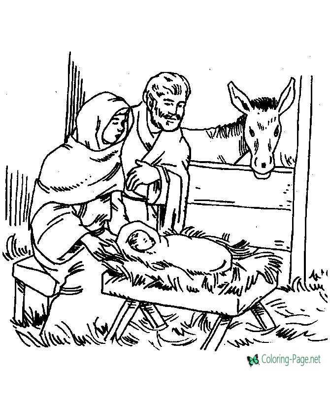 Bible Coloring Page of Nativity Scene