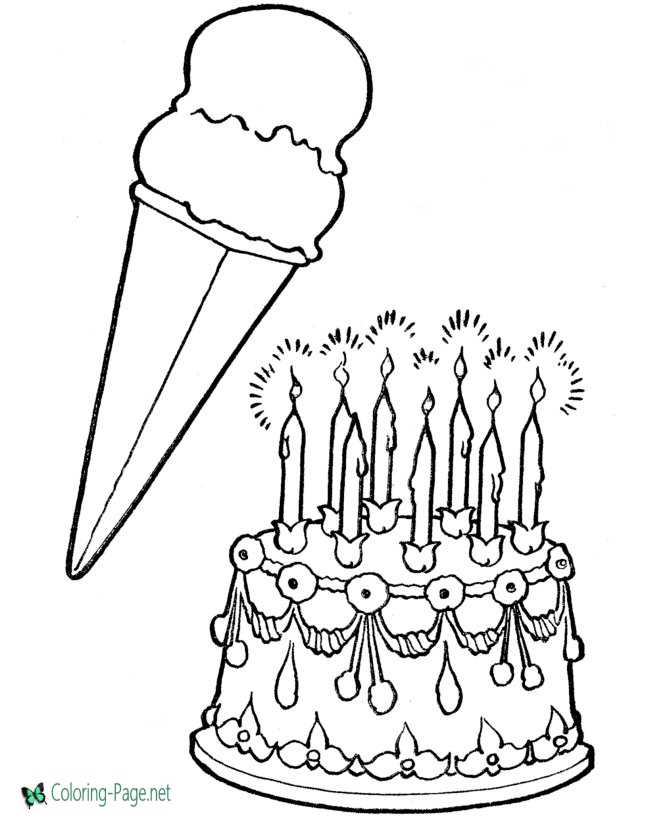Cake with ice cream birthday coloring pages