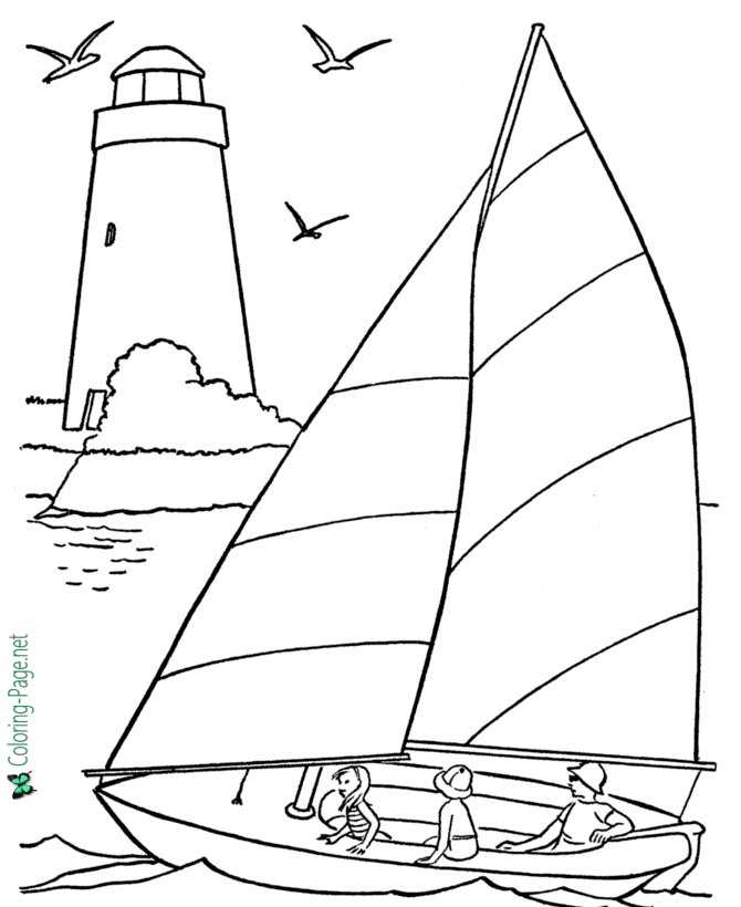 Sailboat And Lighthouse Boat Coloring Pages