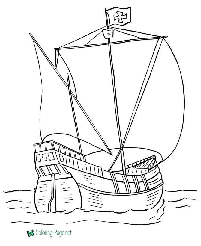 santa maria boat coloring pages
