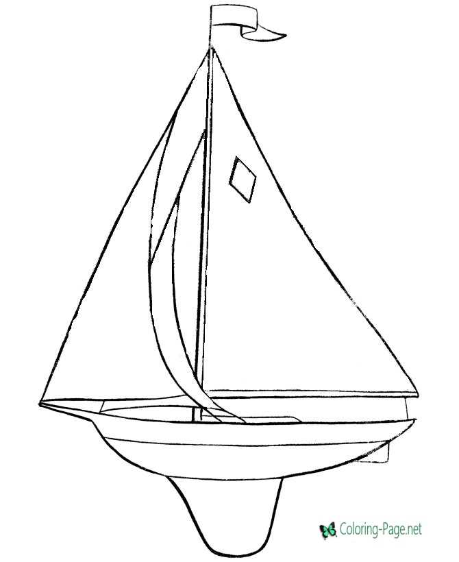 boat coloring page for children
