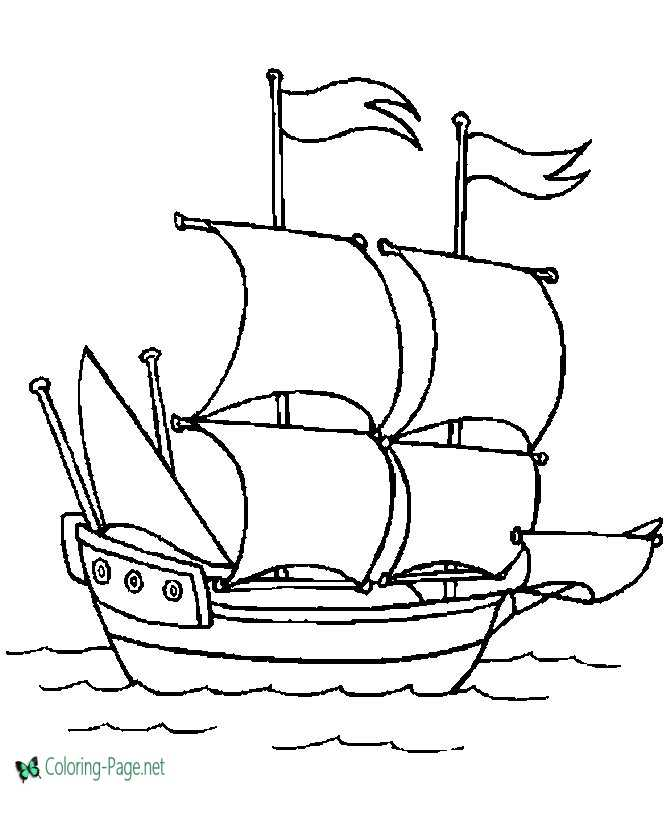 Pilgrim ship coloring sheets