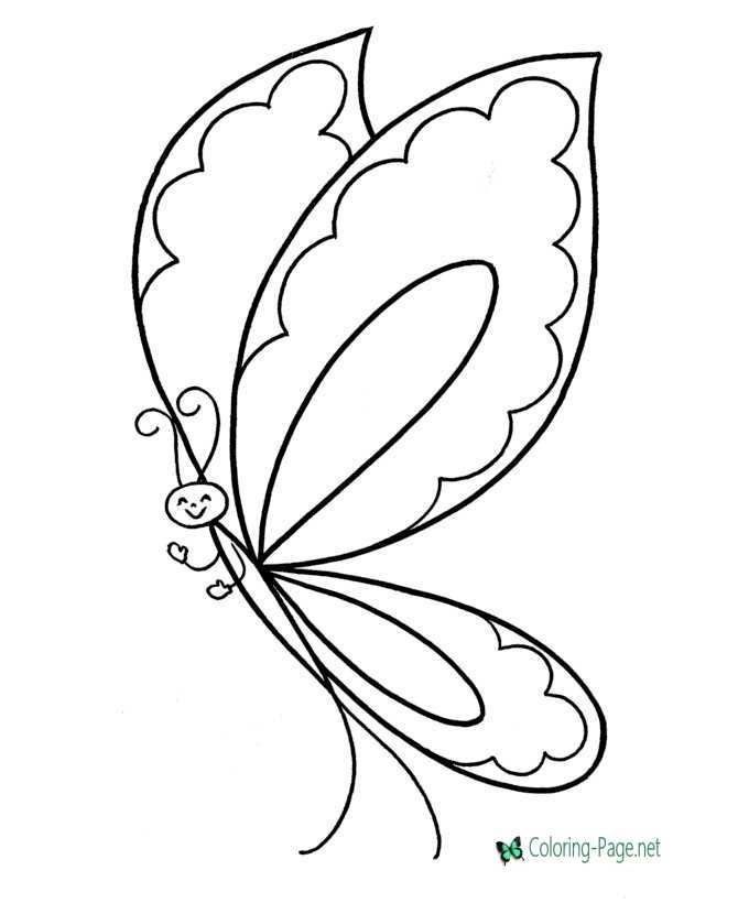 kids butterfly coloring page