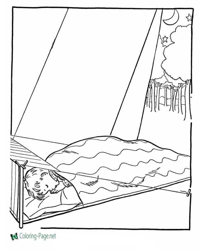 Camping Coloring Page Sleeping Bag