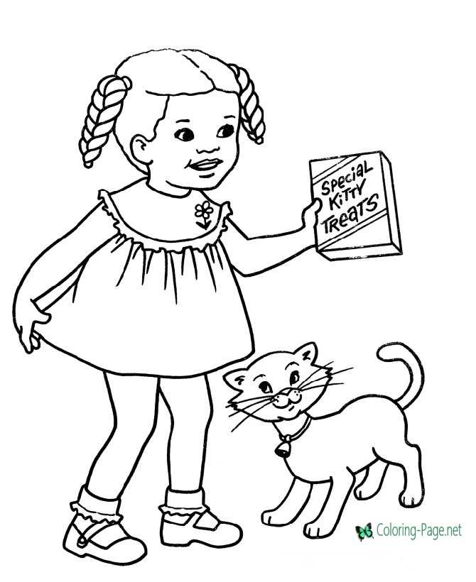 cat coloring page for children