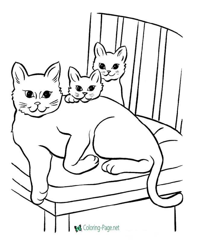 kids cat coloring pages