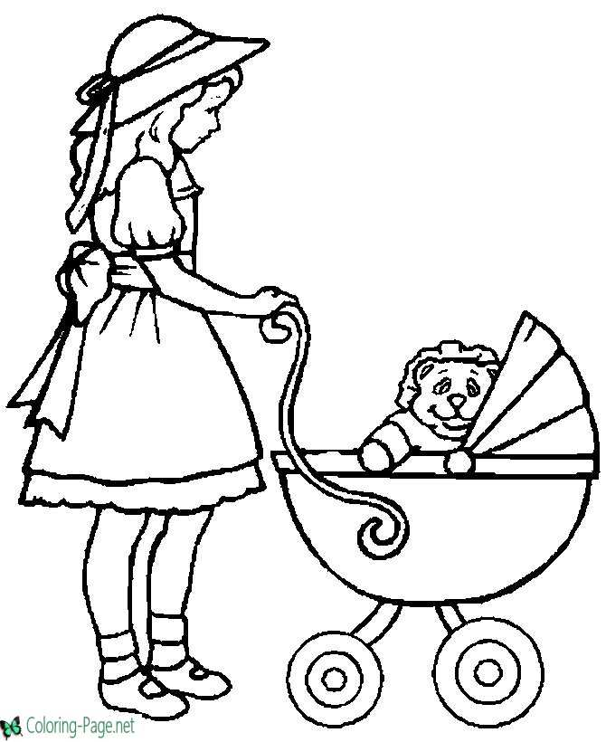 Children Coloring Pages Girl and Baby Carriage