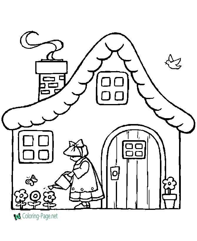 Girl At Cottage Children Coloring Pages