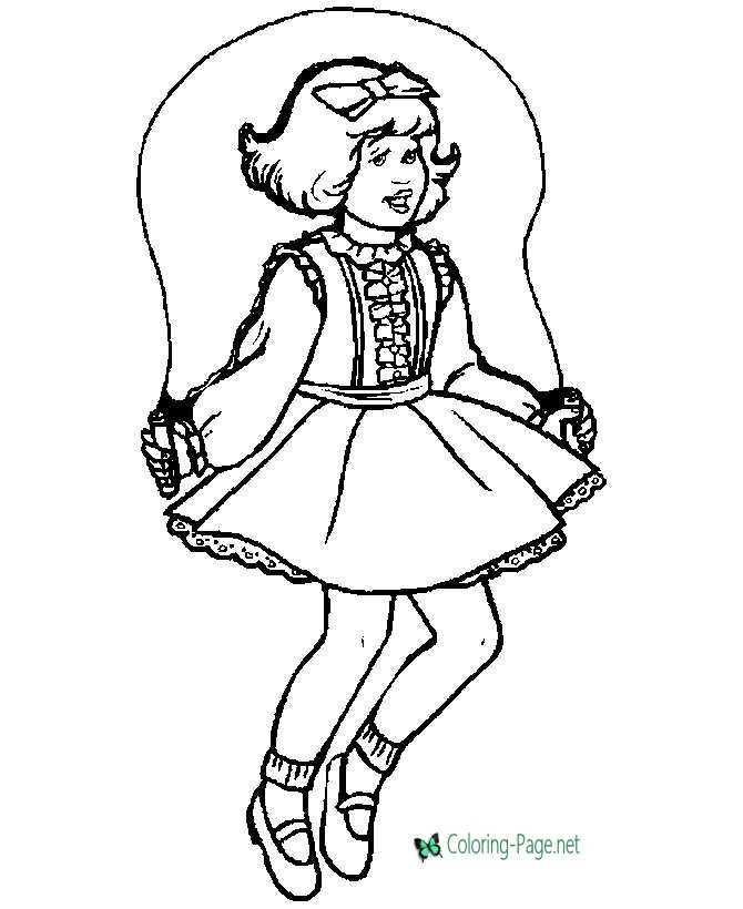 Children Coloring Pages Girl Jumping Rope