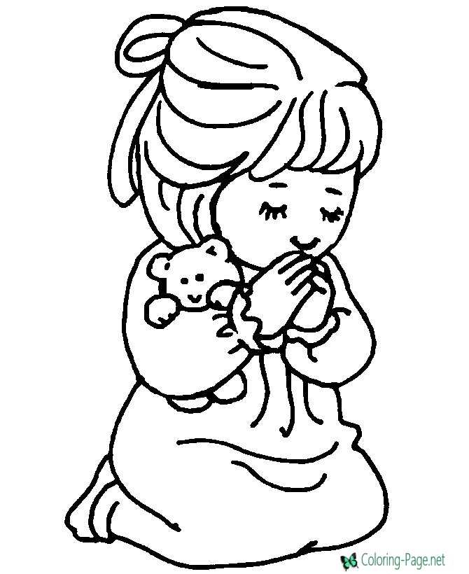 Girl Praying Christian Coloring Pages