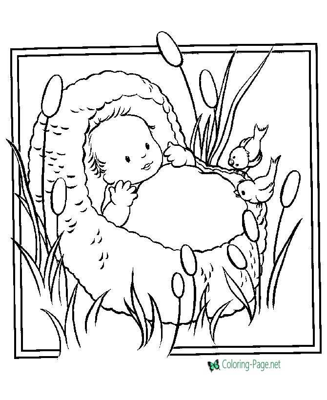christian coloring pages baby moses