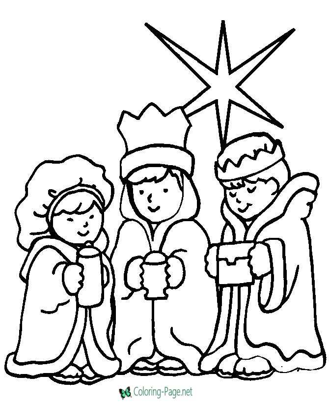 We Three Kings Christian Coloring Pages