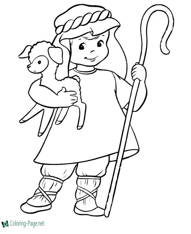Shepherd Boy Christmas Coloring Pages