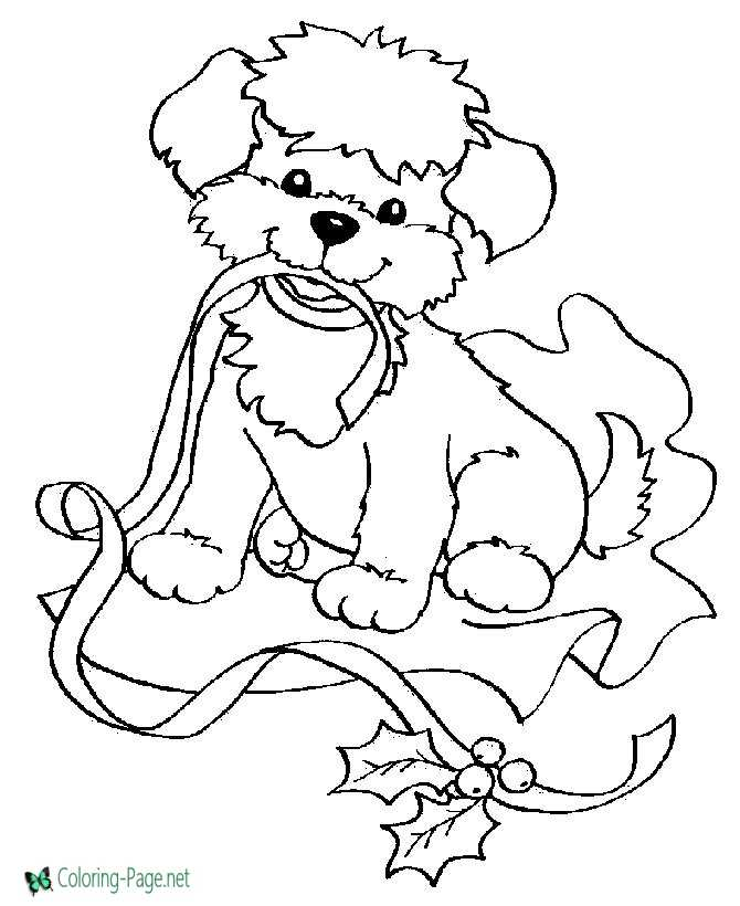 Puppy for Christmas Coloring Pages