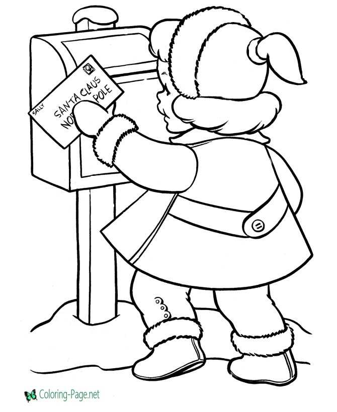 Letter to Santa Christmas coloring page