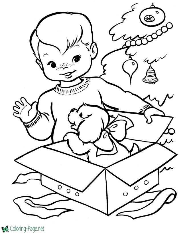 Kitten Present Drawing Christmas Coloring Pages