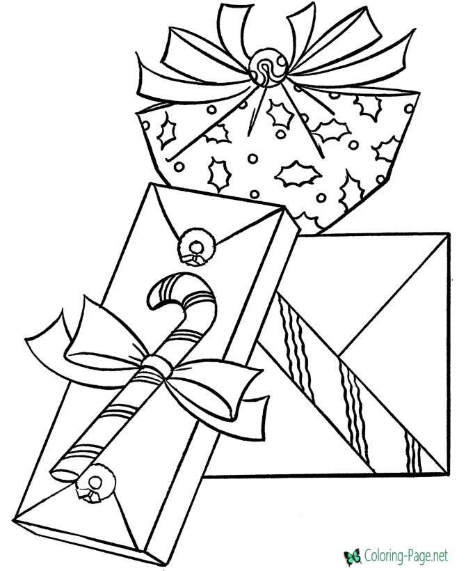 Printable Christmas presents coloring page