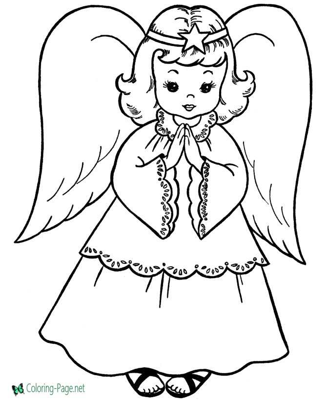 Angel to print Christmas coloring page
