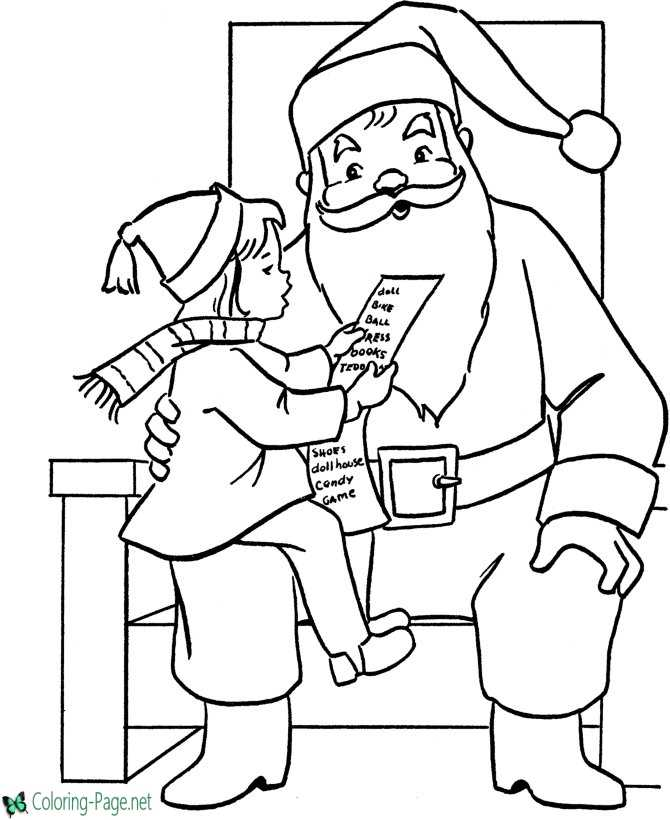 Little girl and Santa Christmas coloring page