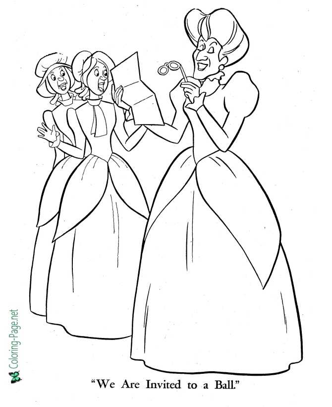 Cinderella coloring page for children