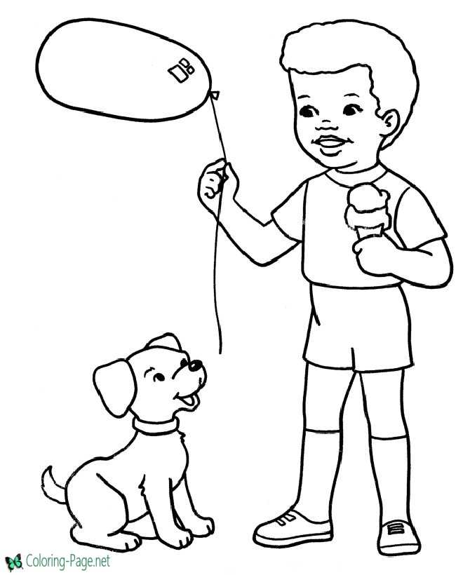 Dog Coloring Pages Balloons