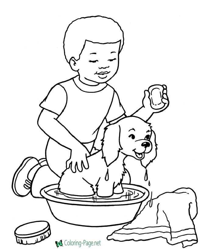 Dog Coloring Pages Bath Time