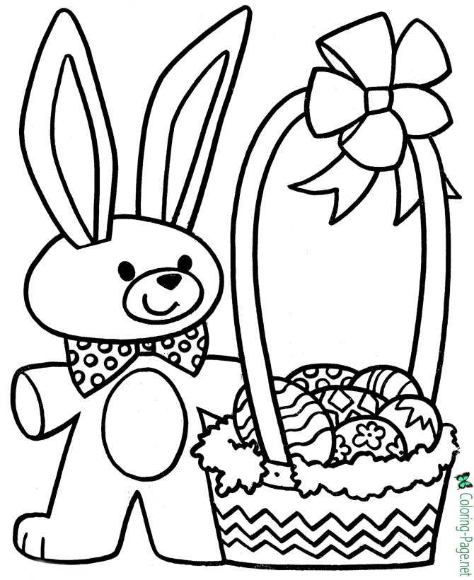 Easter Basket Coloring Pages Easter Bunny