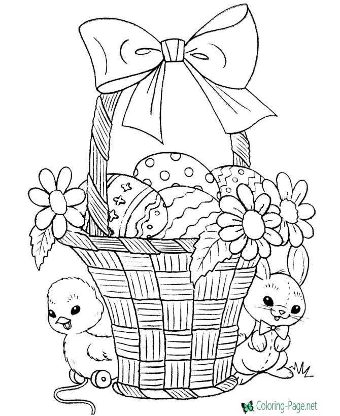 Flower Basket Coloring Page | Easter coloring pages printable ... | 820x670