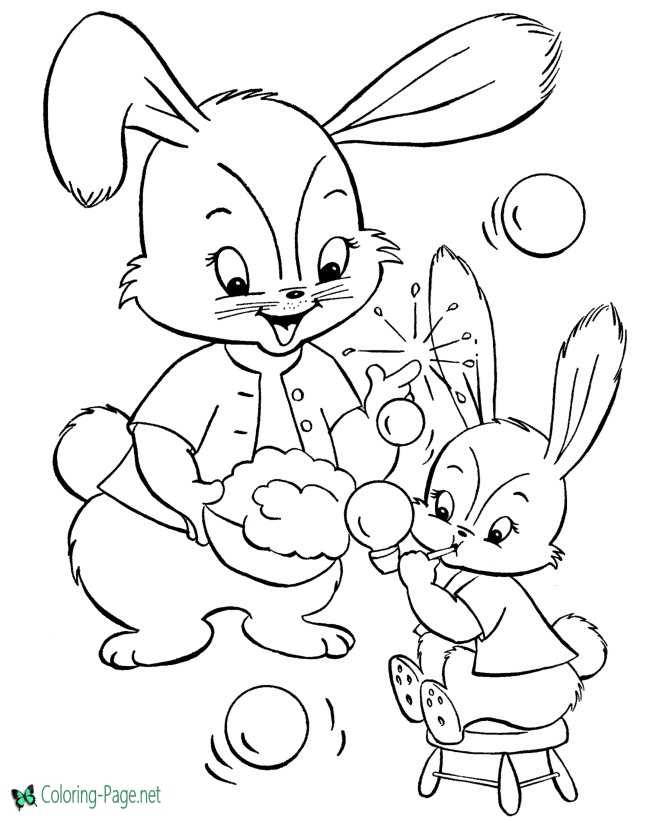 Easter bunny color sheet