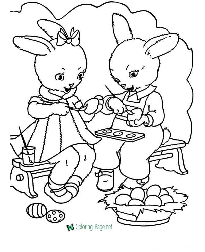 Kids Easter bunny coloring page