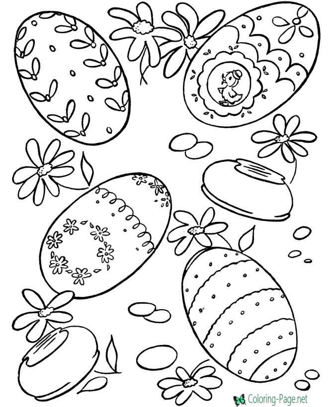 kids Easter egg picture to color