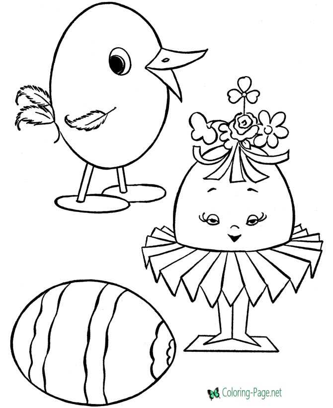 Girl Easter Egg Coloring Pages