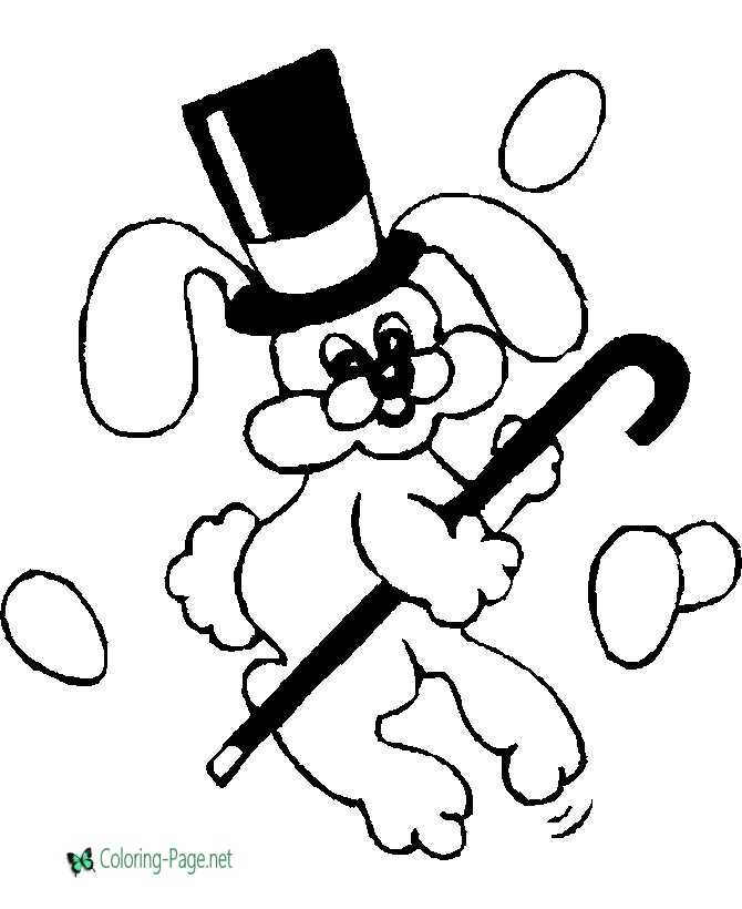 Easter Coloring Pages Bunny Hat Cane