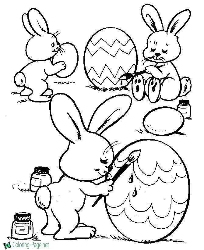 Easter Coloring Pages Bunny Paints Eggs