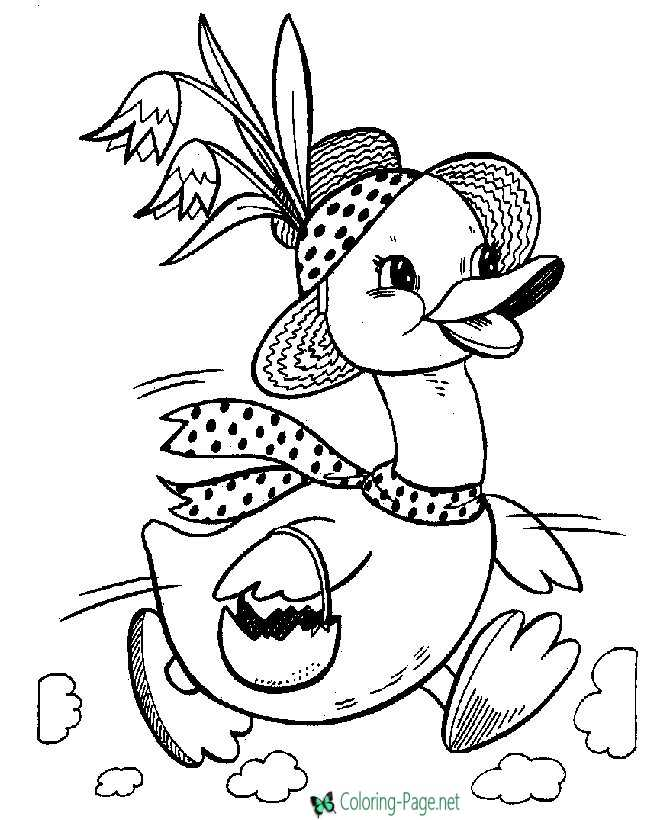 Easter Coloring Pages Duck