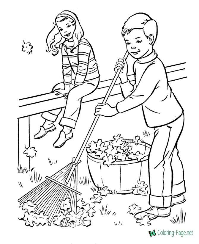 Raking Leaves Fall Coloring Pages