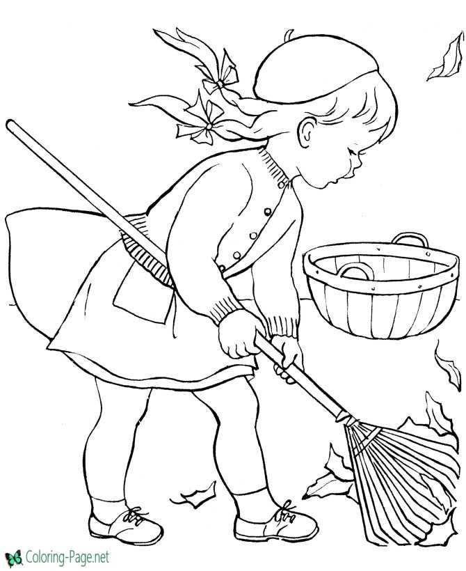 Girls Fall Coloring Pages