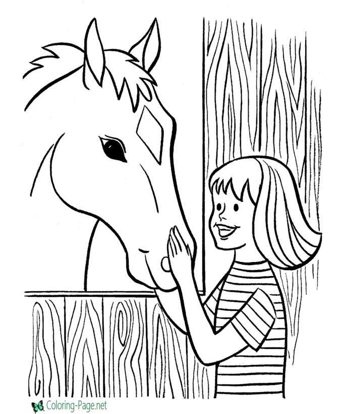 agriculture coloring pages - farm coloring pages girl and horse