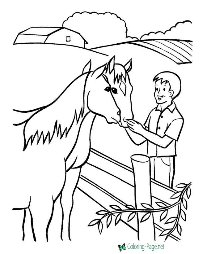farm kids coloring page